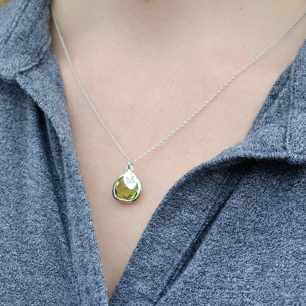 Personalized Peridot Necklace - August Birthstone Necklace, Custom Initial Necklace