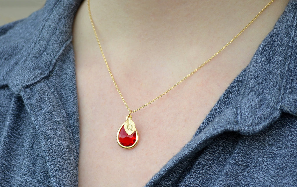 Personalized Ruby Necklace - July Birthstone Necklace, Custom Initial Necklace, Tear Drop Pendant