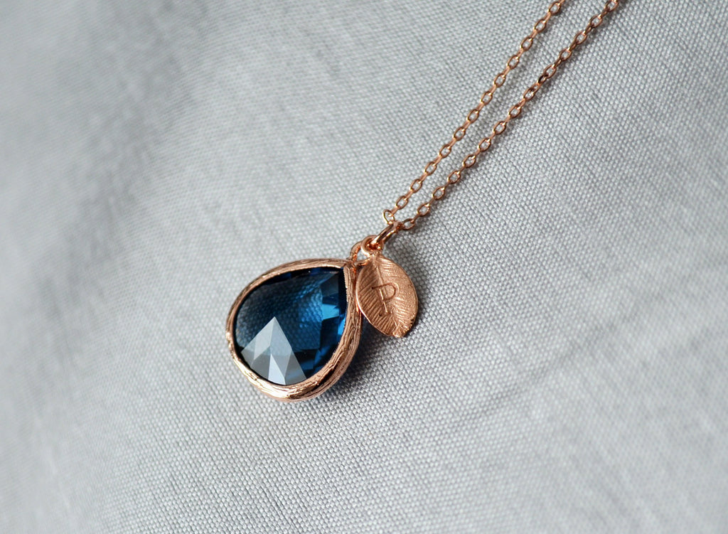Personalized Sapphire Necklace - September Birthstone Necklace, Custom Initial Necklace