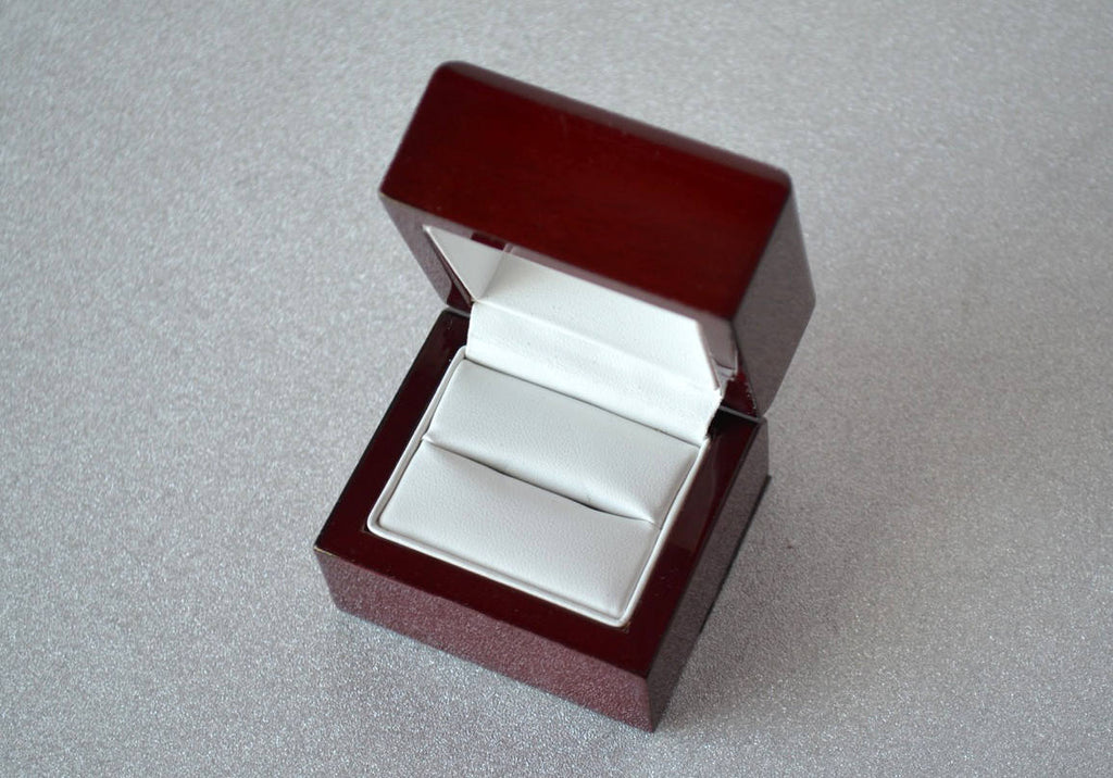 Personalized Wedding Ring Box or Ring Bearer Box - Rosewood Finish - Text Available in Different Colors