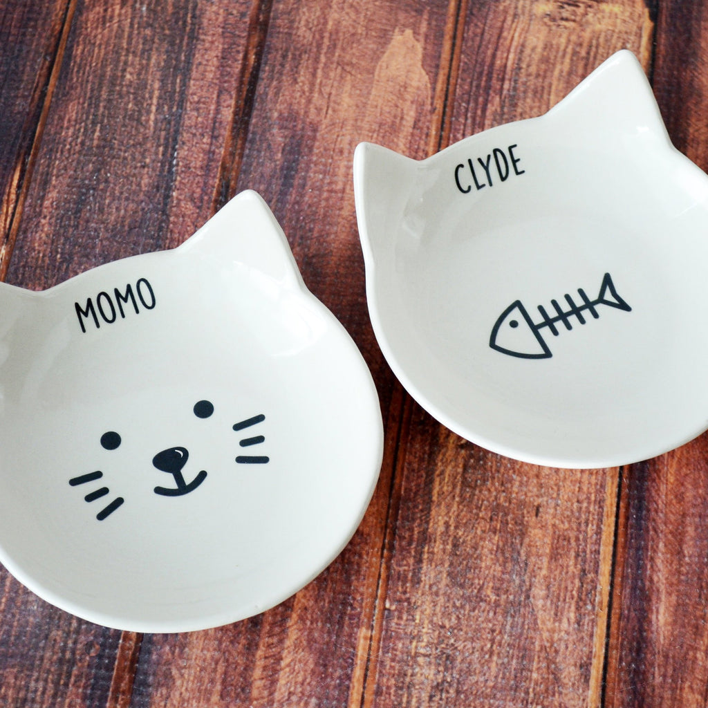 Personalized Cat Bowl, Custom Cat Dish, Cat Gift, Personalized Cat Food Dish - Ceramic Pet Dish