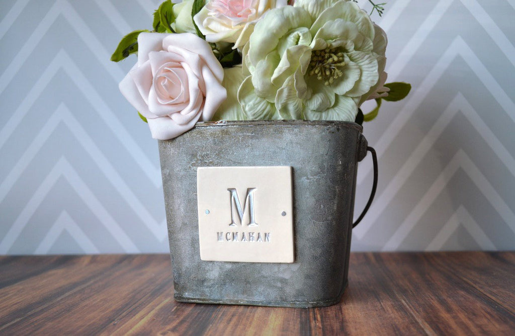PERSONALIZED Flower Girl Bucket in antique grey color with last name - Available in Medium and Small Size