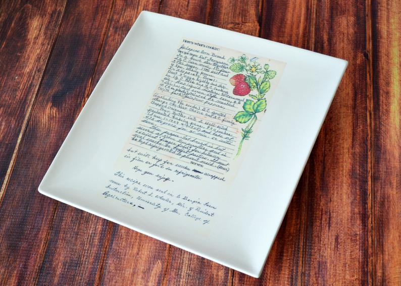 Pie Plate with Handwritten Recipe, Personalized Pie Dish with Recipe