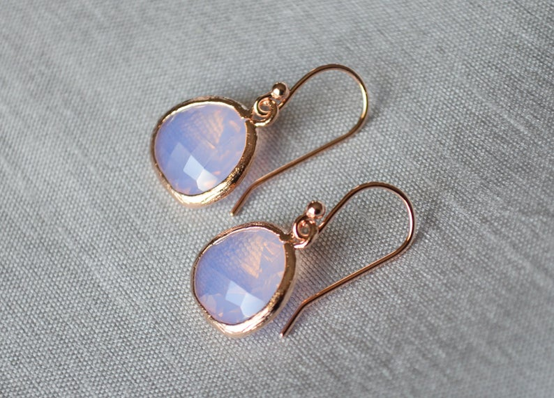 Pink Opal Earrings, October Birthstone Gift, October Birthstone Earrings, Pink Opal Jewelry Set