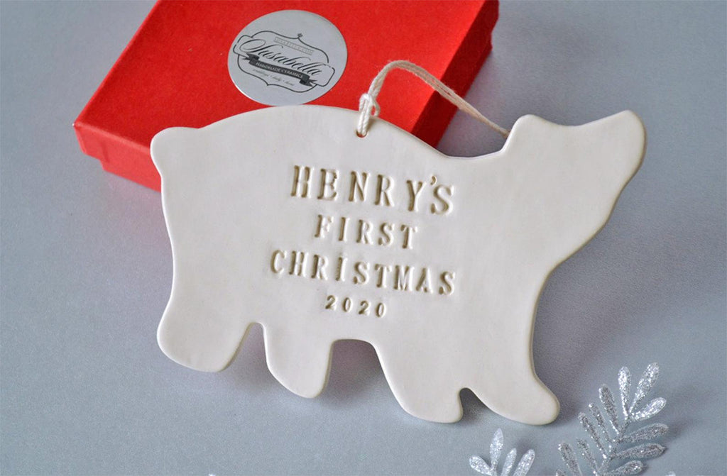 Polar Bear - Personalized Baby's First Christmas Ornament, Gift Boxed