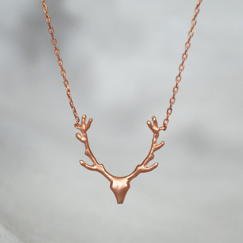 Rose Gold Antler Necklace, Deer Antler Necklace, Deer Head Necklace, Gift for Her, Friend Gift, Best Friend Gift, Layering Necklace