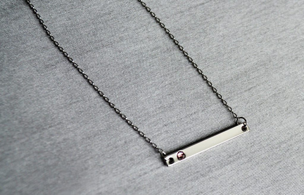 Silver Birthstone Bar Necklace, Mom Gift, Bridesmaid Gift, Personalized Necklace, Friend Gift, Necklace with Birthstone, Birthstone Necklace