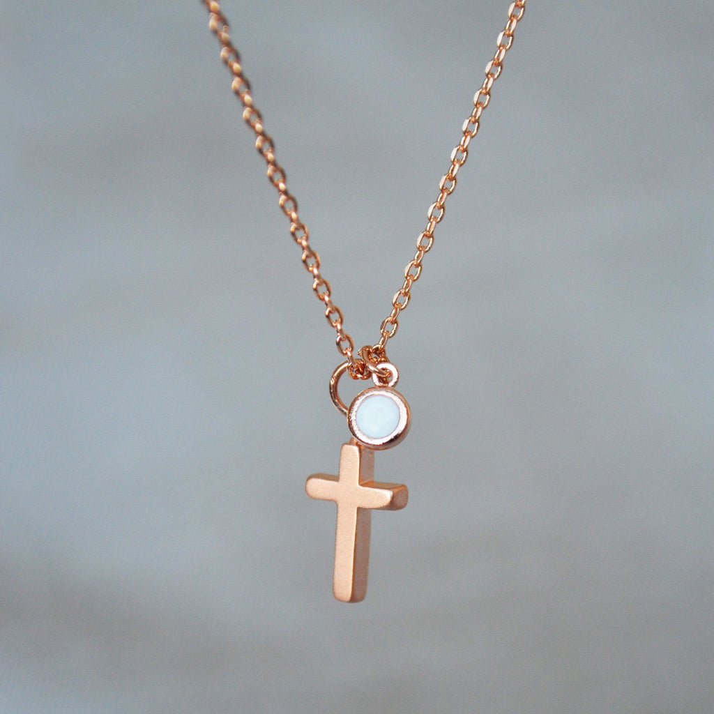 Rose Gold Cross Necklace - Birthstone Necklace - Godparent or Godchild Gift