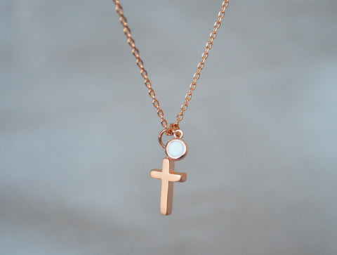 Rose Gold Cross Necklace, Baptism Gift, First Communion Gift, Confirmation Gift, Birthstone Necklace - Godparent or Godchild Gift