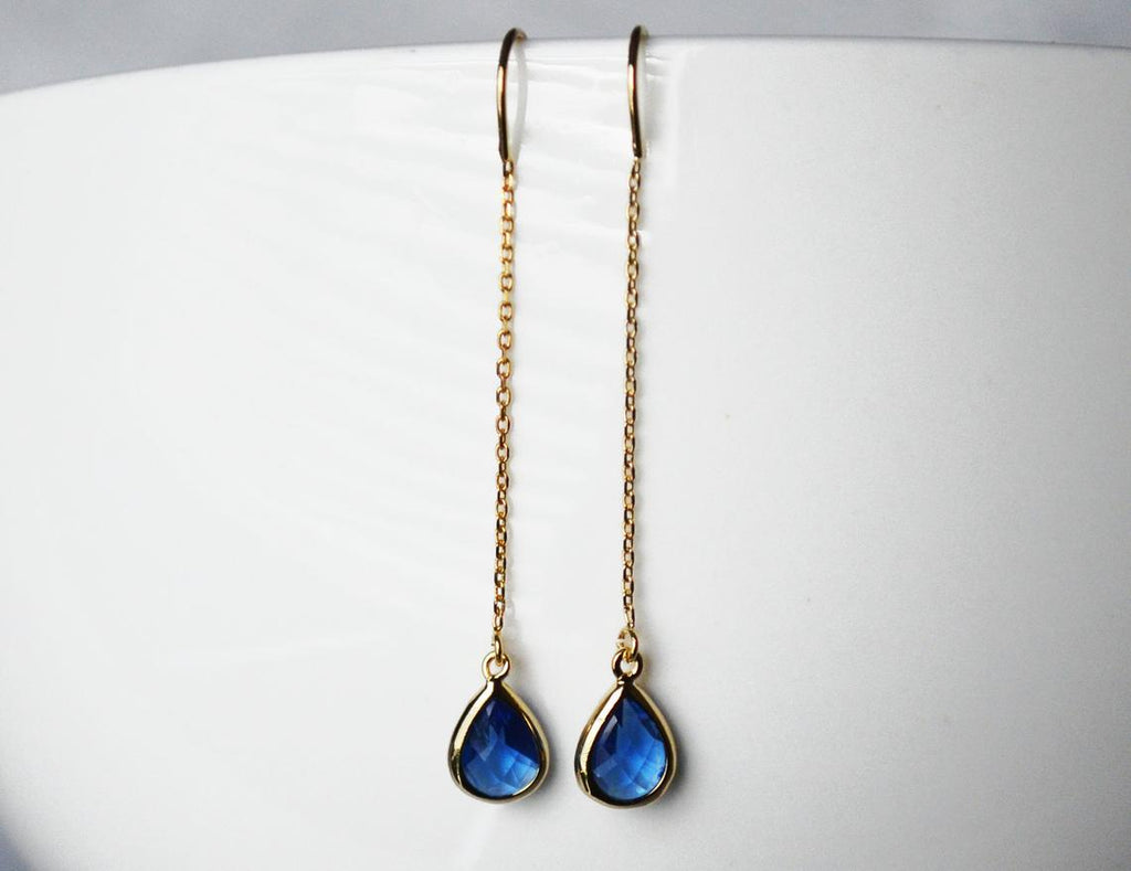Sapphire Threader Drop earrings, Dainty September Birthstone earrings, Sapphire Drop earrings, Bridesmaid earrings, September Birthday Gift