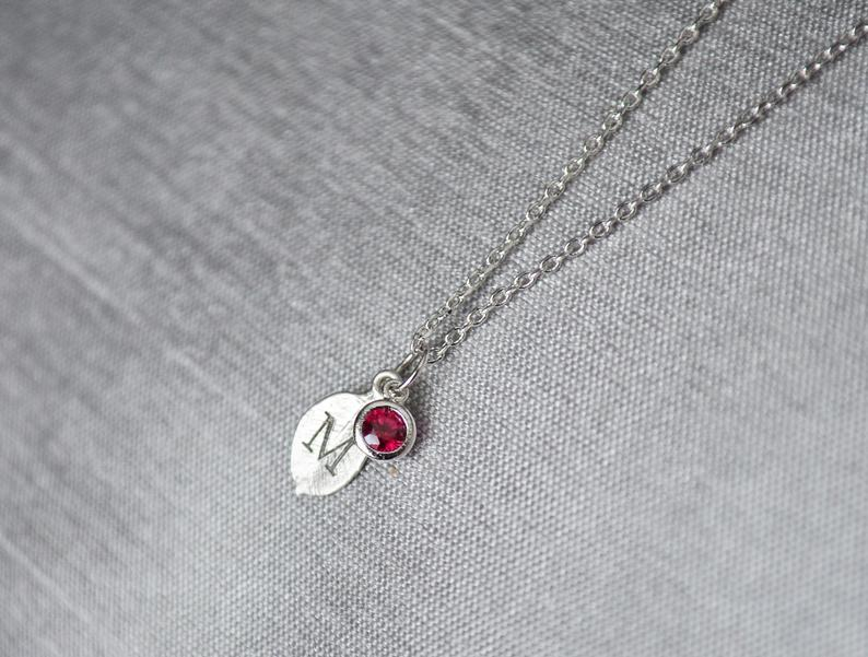 Silver Leaf Necklace, New Mom Gift, Bridesmaid Gift, Personalized Necklace, Birthday Gift, Necklace with Birthstone, Birthstone Necklace