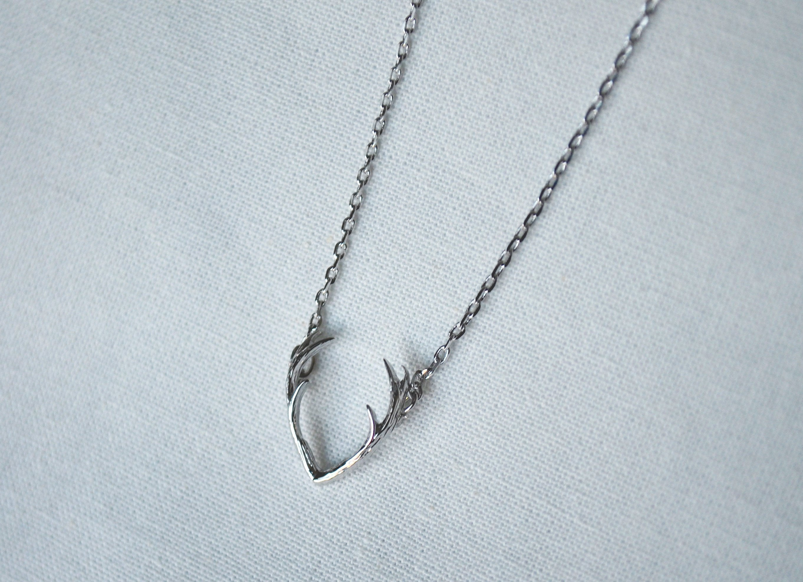 Silver Antler Necklace Deer Friend Gift Birthday