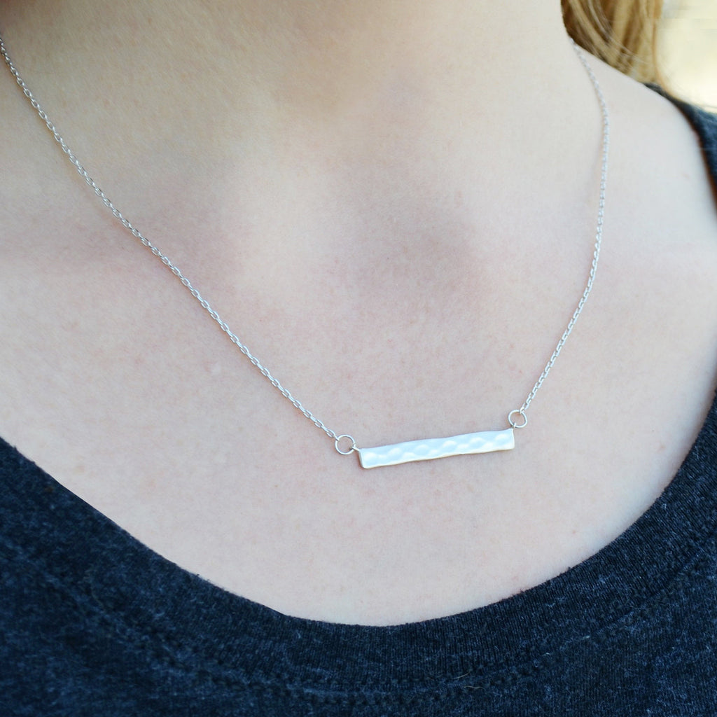 Silver Hammered Bar Necklace, Modern Necklace, Friend Gift, Birthday Gift for Friend, Gift for Her, Best Friend Gift, Layering Necklace