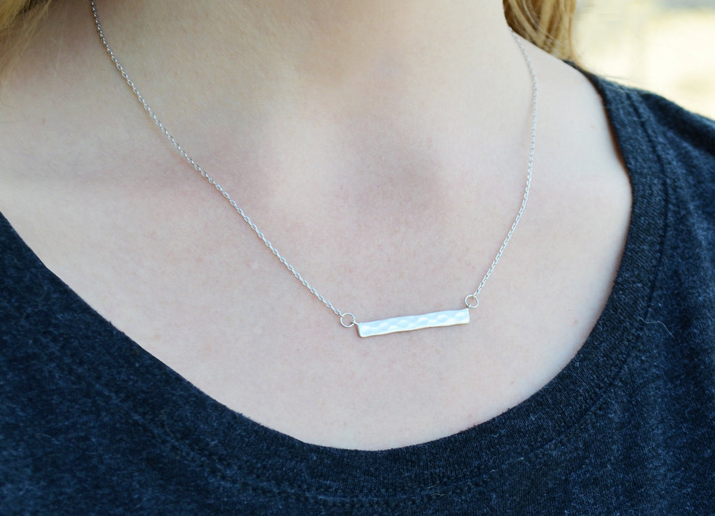 Gold Hammered Bar Necklace, Modern Necklace, Friend Gift, Birthday Gift for Friend, Gift for Her, Best Friend Gift, Layering Necklace