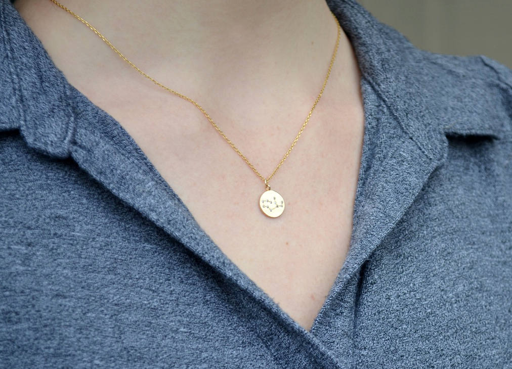 Zodiac Jewelry, Zodiac Necklace, Constellation Necklace, Astrology Necklace, Horoscope Necklace, Gift for Her, Gemini Necklace in Gold or Silver - Gift Boxed