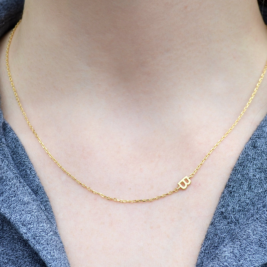 Small Initial Necklace, Letter Necklace, Small Sideways letter, Small Sideways Initial, Mom Gift, Bridesmaid Gift, Friend Birthday Gift