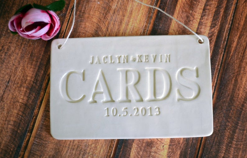 Personalized Cards Sign for Wedding Card Box - Available in Gold, Silver, & Black