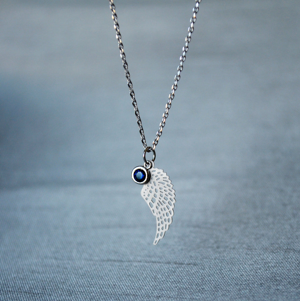 Sympathy Necklace, Angel Wing Necklace, Birthstone Necklace, Infant Loss Jewelry, In Memory Gift, Memorial Gift, Silver Wing Necklace