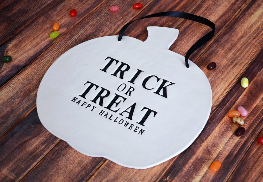 Trick or Treat - Happy Halloween Sign to Hang on Door and Use as Photo Prop - Painted