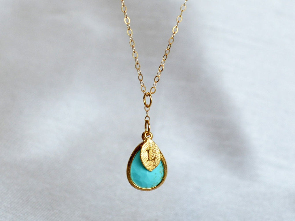 Turquoise Necklace, December Birthstone Necklace, Bridesmaid Gift, Mom Birthstone Necklace, Initial Necklace, Mom Gift, Grandma Necklace