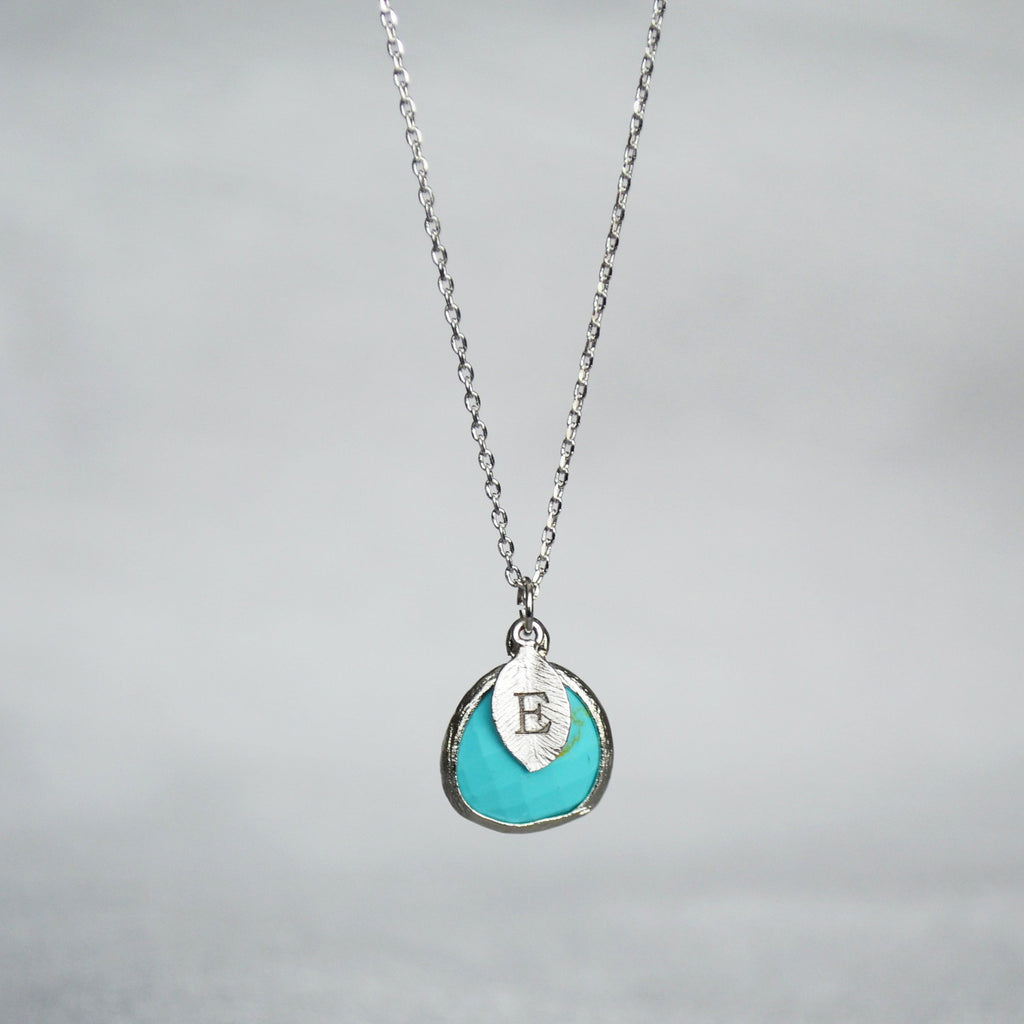 Turquoise Necklace - December Birthstone Necklace, Custom Initial Necklace