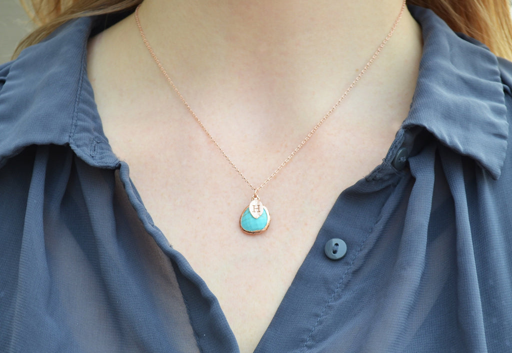 Turquoise Necklace, December Birthstone Necklace, Bridesmaid Necklace, Turquoise Birthstone Necklace, Custom Initial Necklace, Gift for Her