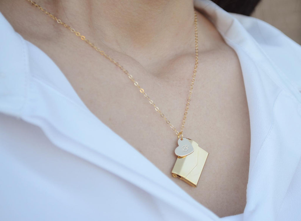 Valentine's Day Necklace, Letter Locket Necklace, Envelope Locket, Gift for Her, Gift for Wife, Girlfriend Gift, Gift for Mom, Gold Locket