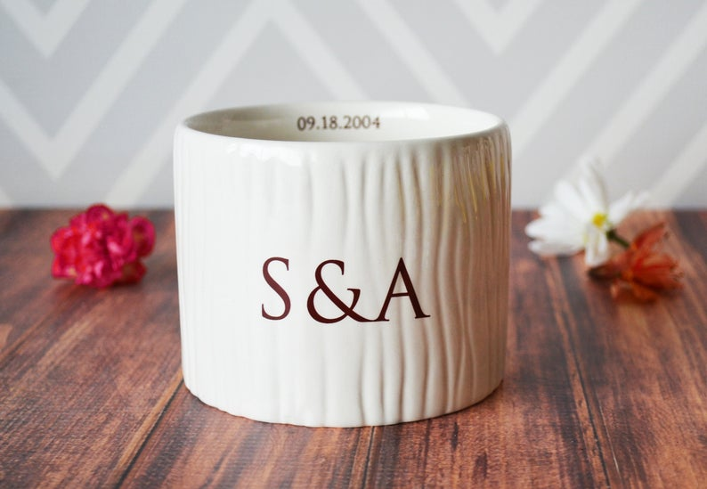 Vase Wedding Gift, Engagement Gift, Anniversary Gift or Wedding Centerpiece -Ceramic Wood Grain Vase - Personalized Modern and Rustic Vase