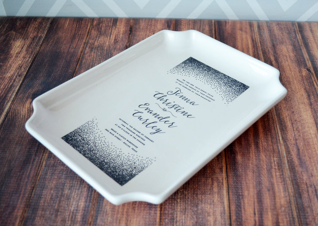 Personalized Wedding Invitation Plate - Large Tray - In Color Wedding Gift, Engagement Gift