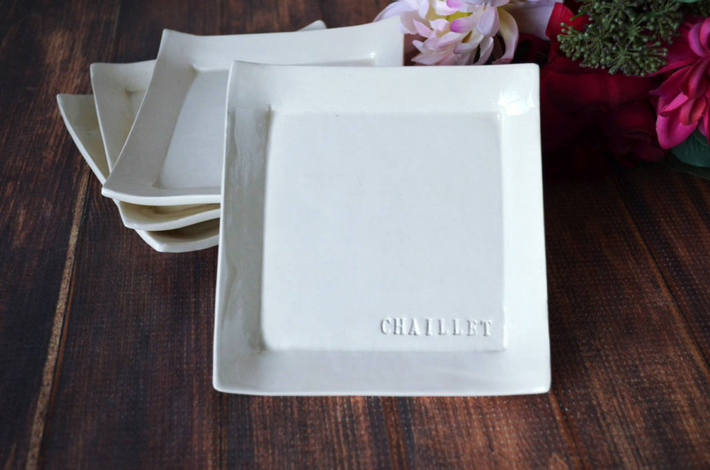Appetizer Plates - Wedding Gift or Hostess Gift - Personalized with Name - Set of 4