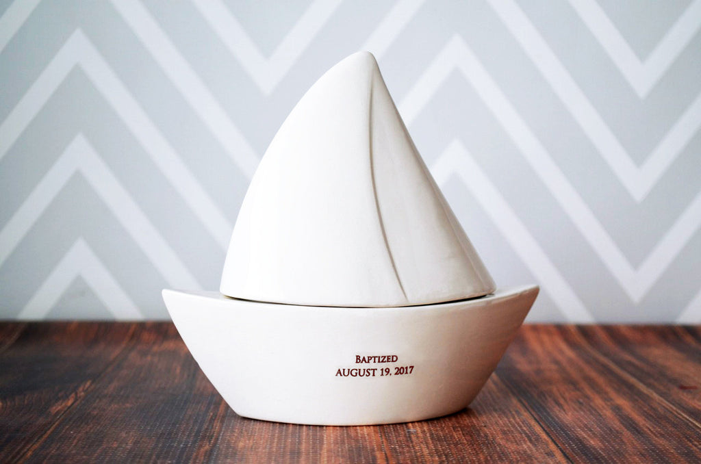 Sailboat Box - Baptism Gift, Baby Gift or First Communion Gift - Personalized Gift - With Gift Box