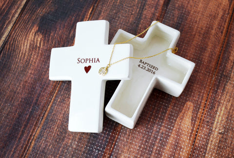 Baptism Gift - Large Personalized Heart Bowl With Name and Cross