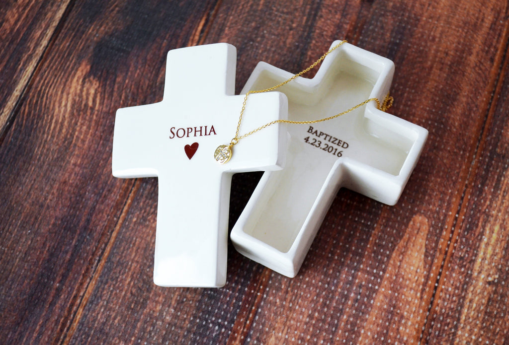 Personalized Baptism Gift, First Communion Gift or Confirmation Gift - With Necklace - Cross Keepsake Box - With Gift Box