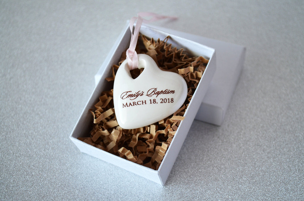 Baptism Favors - Set of 10 - Christening Favor, First Communion Favor, Blessing Favor or Confirmation Favor - Personalized Heart