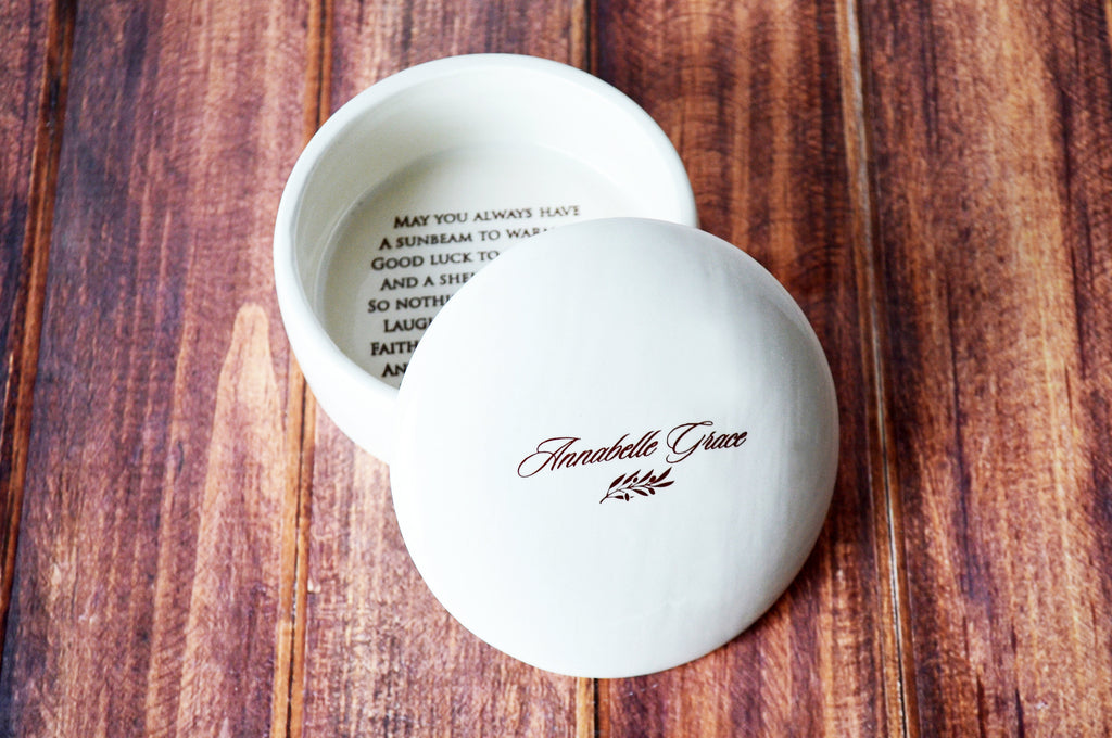 Baptism Gift, First Communion Gift or Confirmation Gift - With Irish Blessing - Script Font - Round Keepsake Box - With Gift Box
