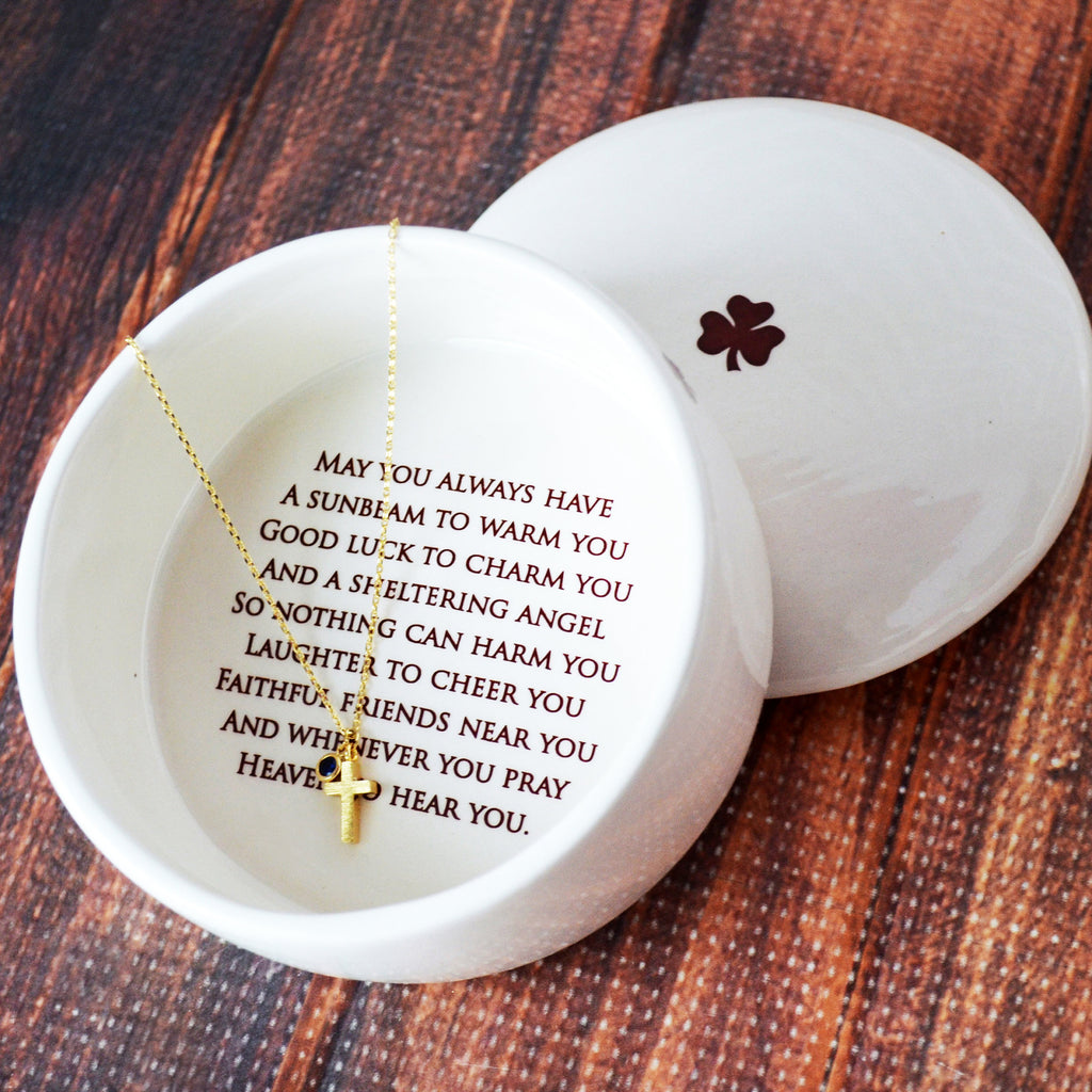 Baptism Gift, First Communion Gift, Confirmation Gift, Godchild Gift - SHIPS FAST - Round Keepsake Box w/ Cross Necklace, Irish Blessing
