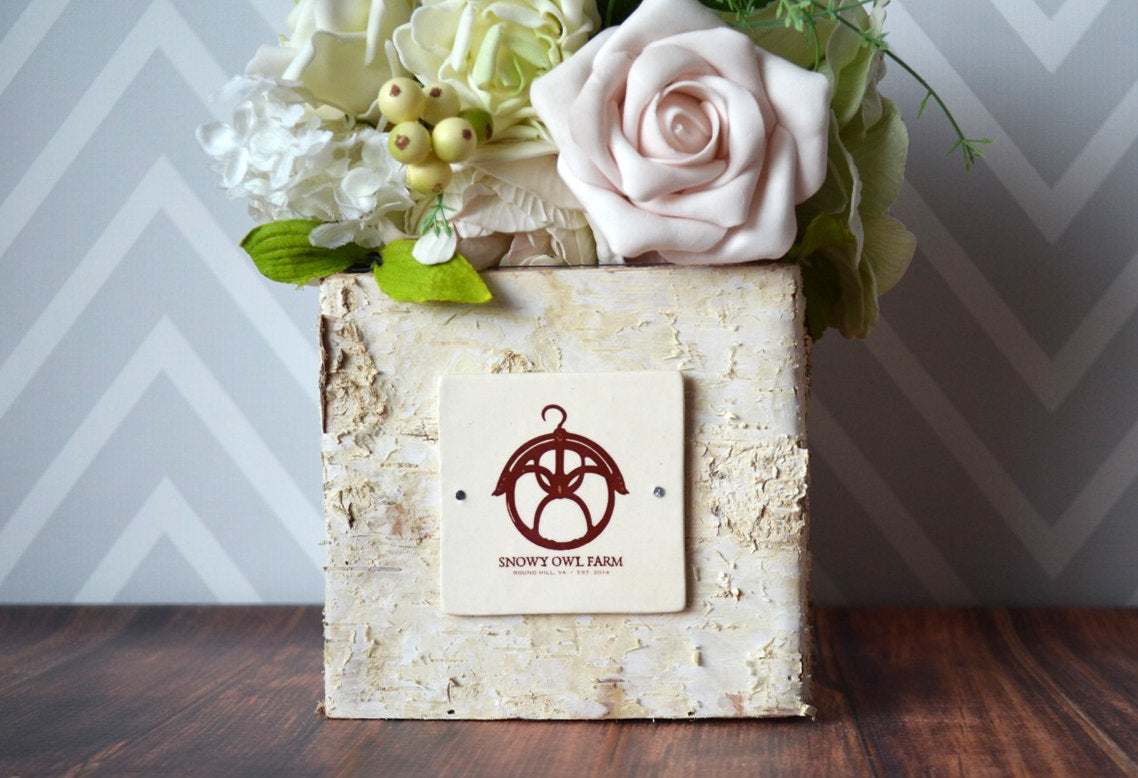 Personalized Vase Business Gifts Corporate Gifts Gift With Logo Personalized Gift Boss Gift Rustic Centerpiece Square Birch Vase