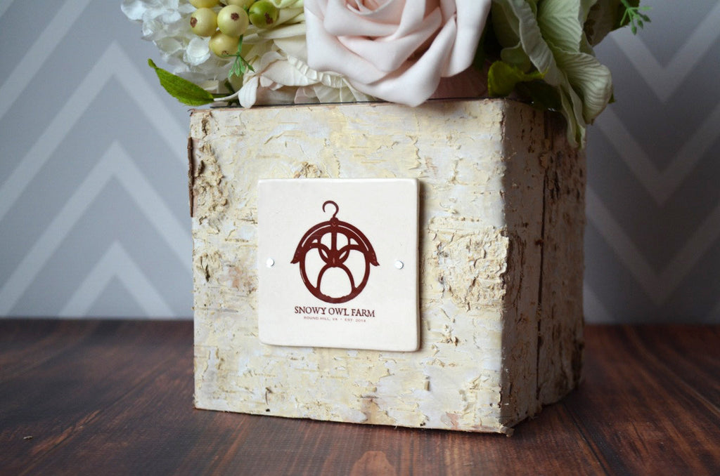 Personalized Vase, Business Gifts, Corporate Gifts, Gift with Logo, Personalized Gift, Boss Gift - Rustic Centerpiece - Square Birch Vase