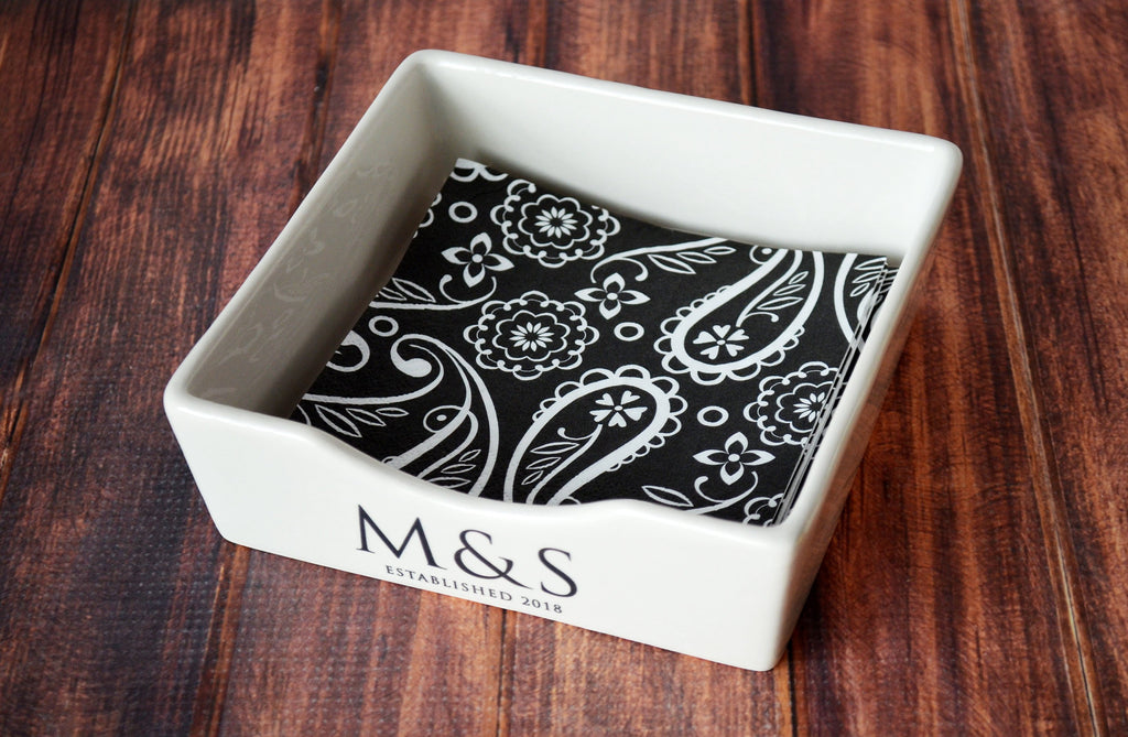 Napkin Holder, Cocktail Napkin Holder, Wedding Gift, Anniversary Gift, Housewarming Gift or Engagement Gift - Personalized Napkin Holder
