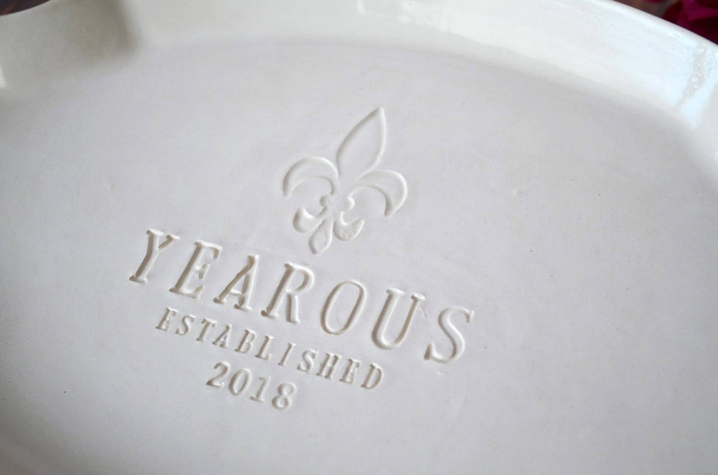 Wedding Gift, Anniversary Gift or Housewarming GIft- Custom Platter with Fleur De Lis Stamp - Gift Boxed & Ready To Give