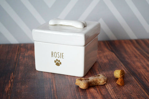 Personalized Dog Treat Jar, Dog Treat Container, Dog Gift - With Name in Gold or Silver