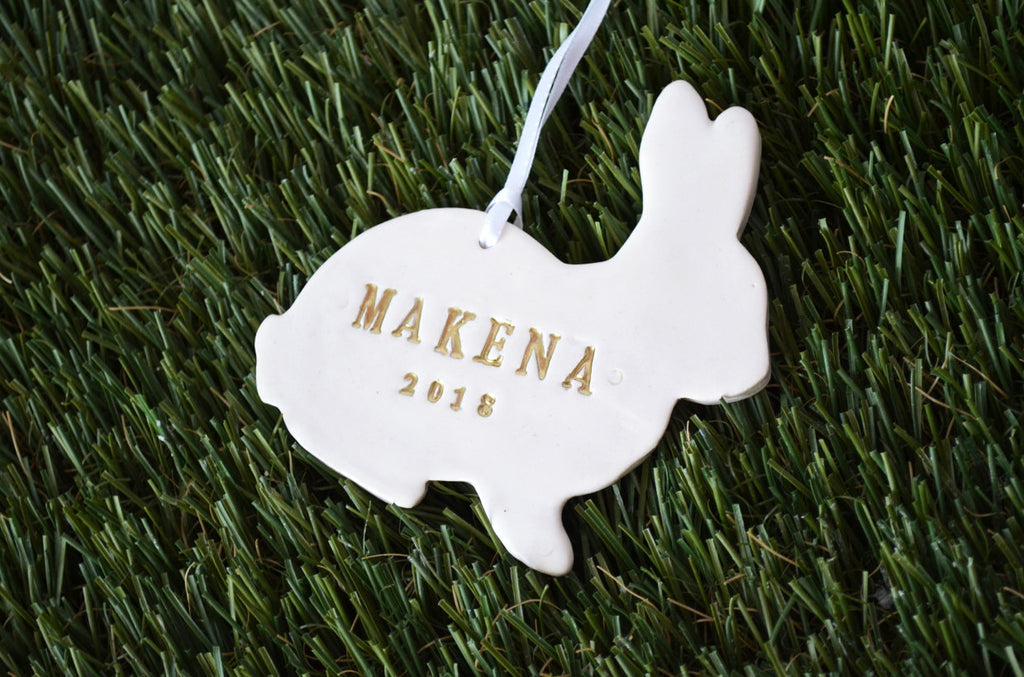 Easter Gift, Baby Easter Gift, First Easter Gift, Easter Ornament, Bunny Ornament, Easter Gift Tag- Personalized - Gift Boxed