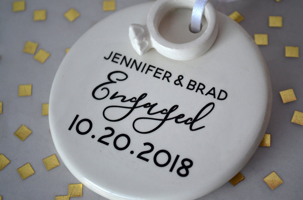 Engagement Ornament - Engagement Gift or Christmas Gift - With Names Date and Ring - Gift Boxed