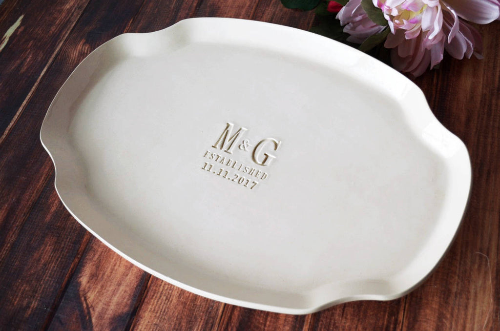 Wedding Gift, Engagement Gift, Anniversary Gift or Signature Guestbook Platter - Personalized with Initials and Date