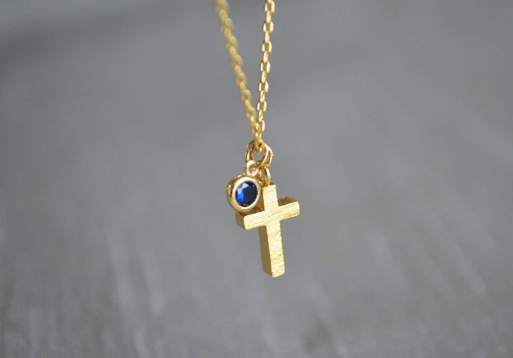 Gold Cross Necklace, Birthstone Necklace - Godparent or Godchild Gift