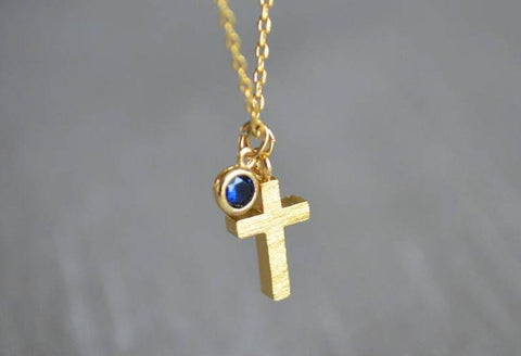 Cross Necklace, Baptism Gift, First Communion Gift, Confirmation Gift, Gold Cross Necklace, Birthstone Necklace - Godparent or Godchild Gift