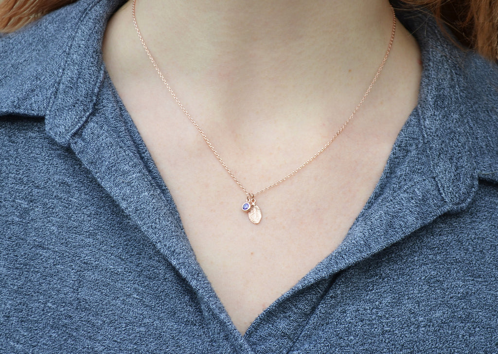 Rose Gold Personalized Necklace, Leaf Necklace, Necklace with Birthstone, Birthstone Necklace