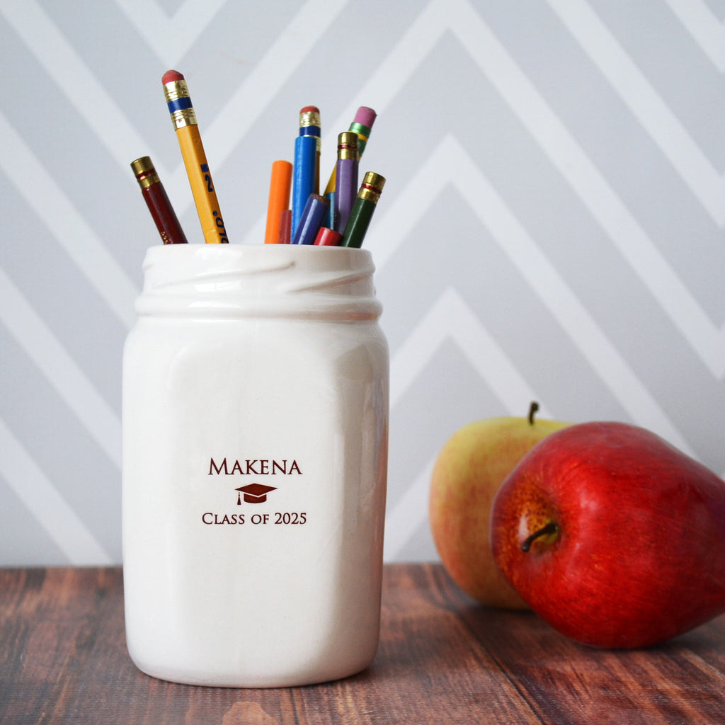 Graduation Gift, Graduation Day Gift, Class of 2021, Graduation Gifts For Her, Personalized Graduation Gifts, Mason Jar Vase, Pencil Holder
