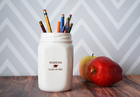 Graduation Gift, Graduation Day Gift, Class of 2018, Graduation Gifts For Her, Personalized Graduation Gifts, Mason Jar Vase, Pencil Holder