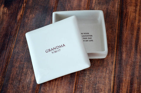 Grandma Wedding Gift, Grandmother Wedding Gift, Grandma Wedding Present - Personalized Square Keepsake Box - With Gift Box